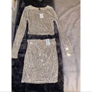 Sequin matching skirt set